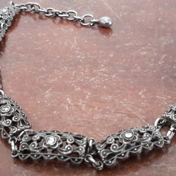 1950s? marcasite bracelet & silver brooch - Silver