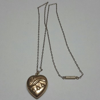 "9ct Rose Gold Puffy Heart Pendant with ""Lily of the Valley""  - Fine Jewelry"