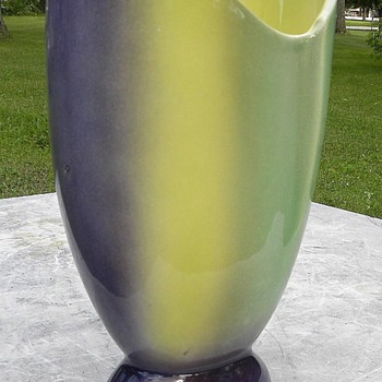 Tri-color blend Green Yellow Grape Glossy Mid Century Ceramic Vase - Mid-Century Modern
