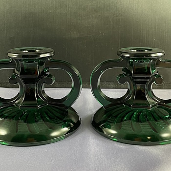 Vintage teal green glass double ring handle candlesticks  - Lamps