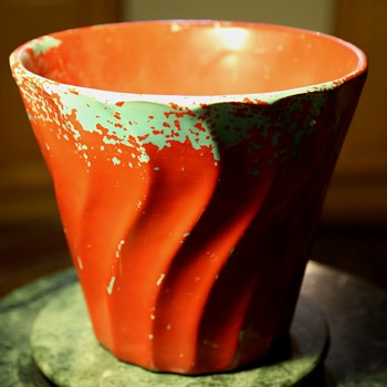 Large Painted Bauer Flower Pot - Pottery
