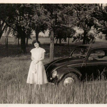 1953 - Family Photo - Mom & Her VW - Photographs