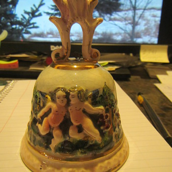 Vintage Porcelain CAPODIMONTE Italy BELL w Cherub Angels Numbered - Pottery