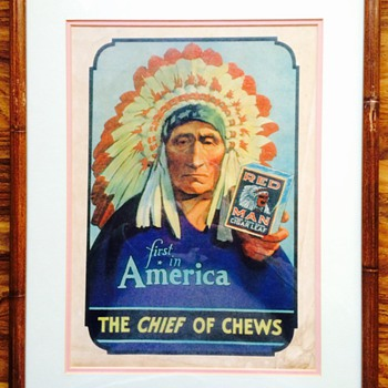 """Red Man Tobacco """"First In America"""" Ad/Poster"""