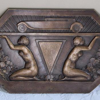 HUGE circa 1930 Art Deco Bronze Nudes & Automobile Plaque - Art Deco
