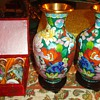 Two Chinese cloisonne Vases and two Chinese mini porcelain vases!