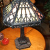 Old Metal and Slag Glass Lamp.