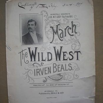 "1896 Sheet Music - ""Wild West"" March - Dedicated to W F Cody - Buffalo Bill - Music Memorabilia"