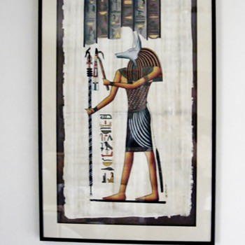 Hieroglyphic painting of Egyptian God Anubis on Papyrus - Paper