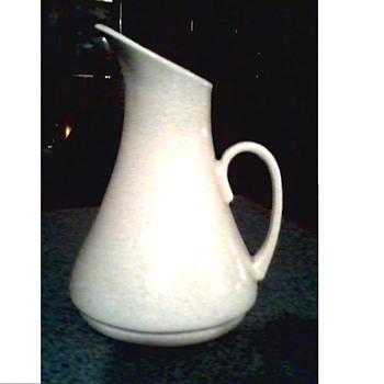 "Mid-Century White Pottery Pitcher/ Marked USA ""924 ? "" / Unknown Maker and Age - Pottery"