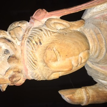 """26"""" tall, wooden statue, Chinese or Japanese? once colored, single piece of wood"""