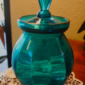 Beautiful Blue/Auqa  Glass Jar - Glassware