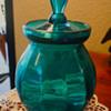 Beautiful Blue/Auqa  Glass Jar