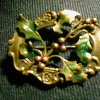 "Victorian-Edwardian Era  ""Holly"" Brooch /2"" Brass-Silver (?) Unmarked/ Circa Early 20th Century - Victorian Era"