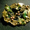 """Victorian-Edwardian Era  """"Holly"""" Brooch /2"""" Brass-Silver (?) Unmarked/ Circa Early 20th Century"""