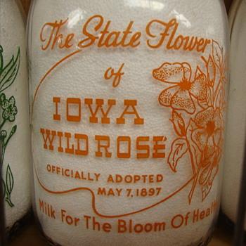 State Flower of Iowa Milk Bottle.......  - Bottles