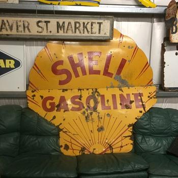 1930 six foot SHELL GASOLINE sign - Petroliana