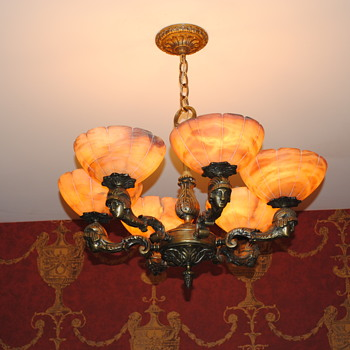 French Deco Cast Bronze Chandelier