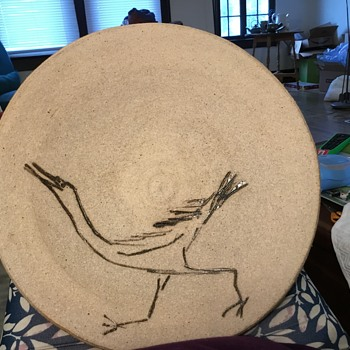 Large rough stoneware charger with roadrunner - Pottery