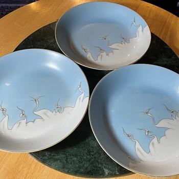Large Soup / Salad Bowls - Shofu Cranes - Victory Japan - Asian