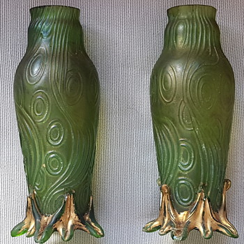 Welz/Kralik Spiraloptisch Green glass vases ??? - Art Glass
