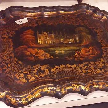 Victorian Scenic Paper Mache Tray - Victorian Era