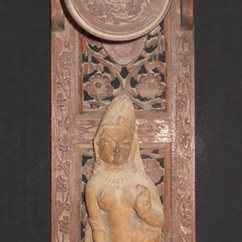 Ancient Sandstone Apsara Figure Fixed in  Vintage Old Wooden Carved Wall Hanging, Is it Rare ? - Asian