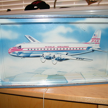 """VINTAGE """"PAA"""" PAN-AM"""" AIRLINES PULL STRING MUSIC PICTURE / AIRPLANE MOVES UP AND DOWN       - Advertising"""