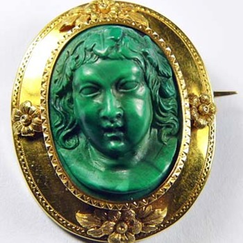 Early rare malachite cameo
