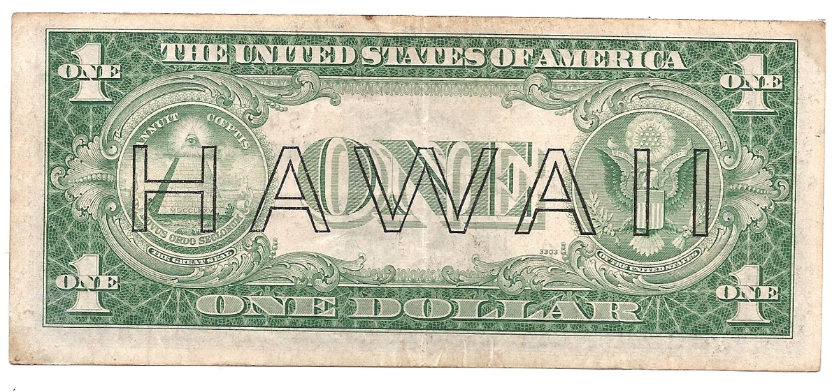 A 1935A One Dollar Bill Stamped Hawaii