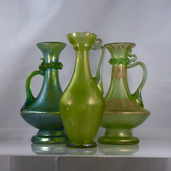 Loetz Papillion, Diana Cisele & Olympia Trio of Ewers Pitchers  - Art Nouveau