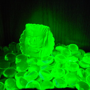 Uranium glass under UV light - Glassware