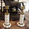 1800's Napolean II Candlesticks Hand Painted Porcelain and Gilt Bronze