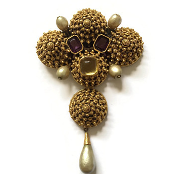 Vintage Diane Love for Trifari Chinese Mandarin Finial Pendant Brooch - Costume Jewelry