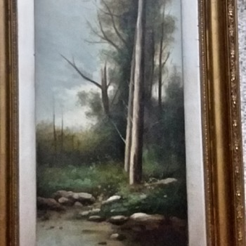 OOC Unsigned Painting of Tree by a Brook