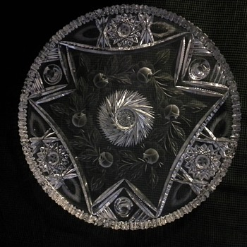 Cut Glass Three Footed Plate w/Etching