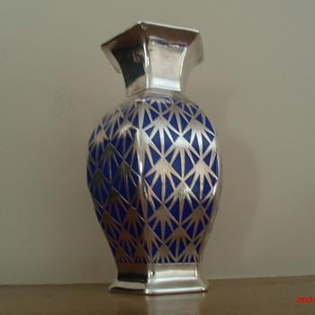 Rosenthal Bavaria sterling overlay vase c. 1920's/30's - Art Deco