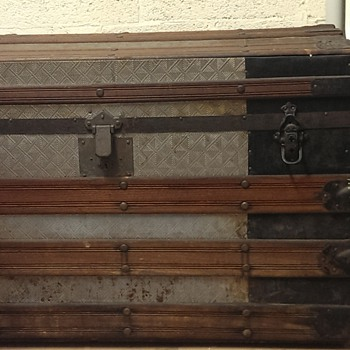 Large Antique Trunk w/ embossed tin - Furniture