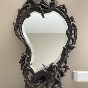 Vintage antique cast iron bronze vanity mirror