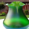 Bohemian Art Nouveau 'Sack' Vase with Gold Enameling on Iridised Matt Green - But Who Made It ?