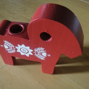 Unknown Red  Wood Horse Candle stick holder with Pattern - Folk Art