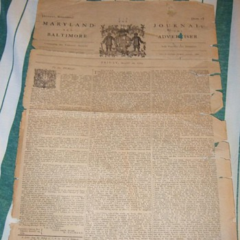 1773 Newspaper: Maryland Journal and the Baltimore advertisier - Paper