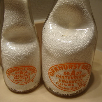 Oakhurst Dairy (Warrensburg Missouri) quart & pint cream seperators - Bottles