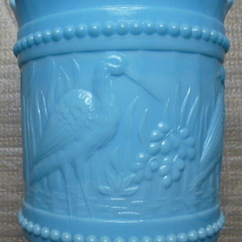 Blue milk glass spooner - Glassware