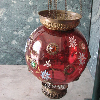 Antique hanging globe lamp collected in India - Lamps