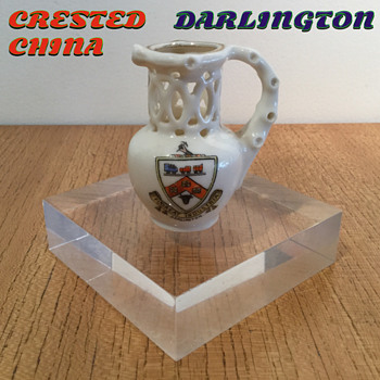 CRESTED CHINA DARLINGTON PUZZLE JUG. - Pottery