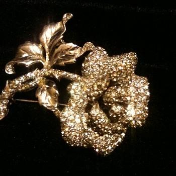 Rhinestone encrusted Flower Pin / Brooch - Costume Jewelry