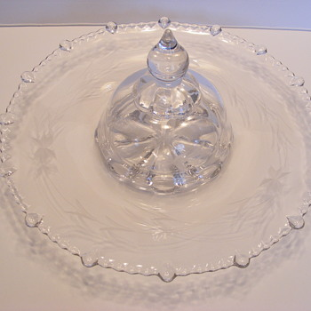 Vintage etched glass tray with center cover - Glassware