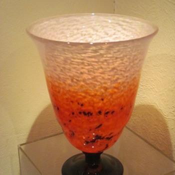 """Large Schneider """"Jades"""" Art Deco Glass Vase"""