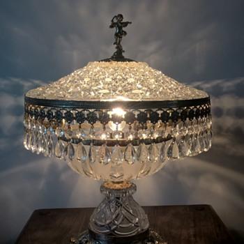 grandmothers cut glass table lamp